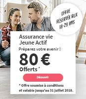 Société Générale – 80 € offerts – Assurance vie Jeune Actif