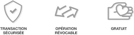 Illustrations Transaction sécurisée, Opération révocable et Gratuité