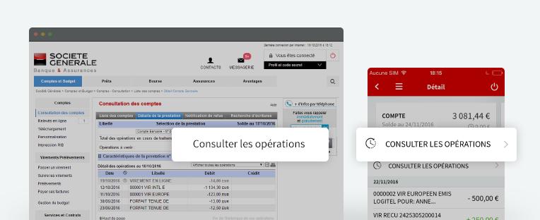 Écran desktop et mobile (Consulter les opérations)