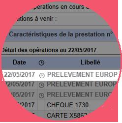 Capture d'écran de consulation des comptes